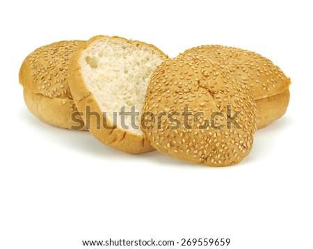 Hamburger bun on a white background - stock photo