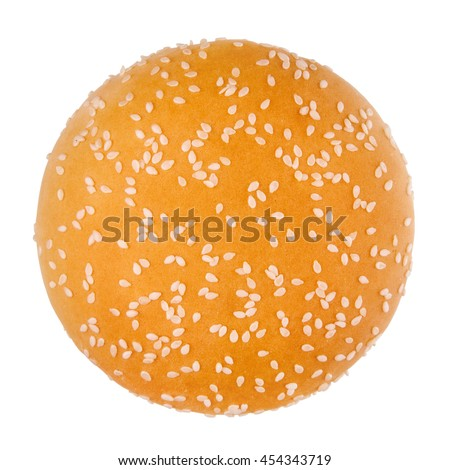 Hamburger bun on a white background