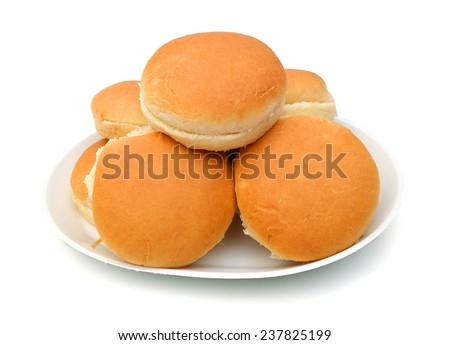 hamburger buns isolated in plate on white background  - stock photo
