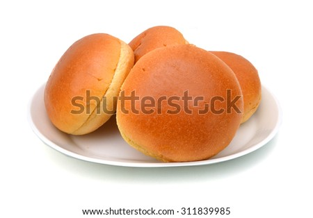 Hamburger buns isolated in plate on white background