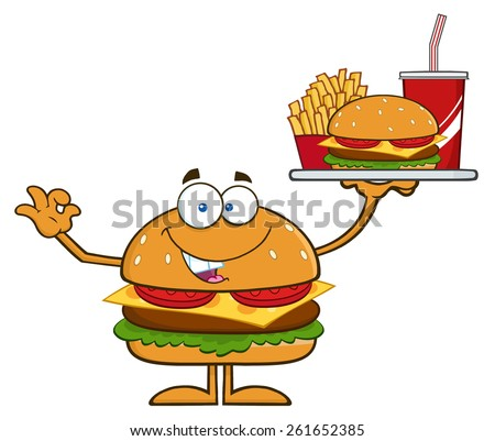 Hamburger Cartoon Character Holding A Platter With Burger, French Fries And A Soda. Raster Illustration Isolated On White - stock photo