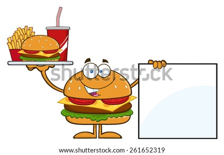 Hamburger Cartoon Character Holding A Platter With Burger, French Fries And Soda By Blank Sign. Raster Illustration Isolated On White - stock photo