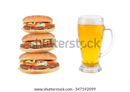 hamburger cheeseburger and Pint of beer  isolated on white