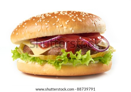 hamburger cheeseburger fast food american - stock photo