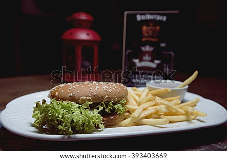 hamburger close-up and french fries. Fast food & barbecue collection. - stock photo