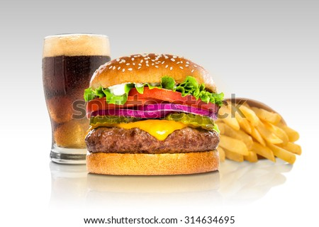 Hamburger fries and a coke soda pop cheeseburger combination deluxe fast food on gradient - stock photo