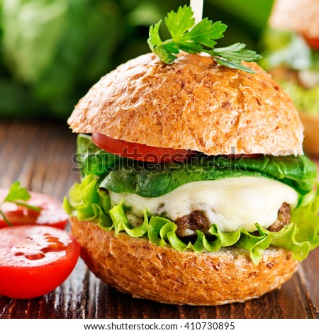 Hamburger, homemade hamburger with fresh vegetables
