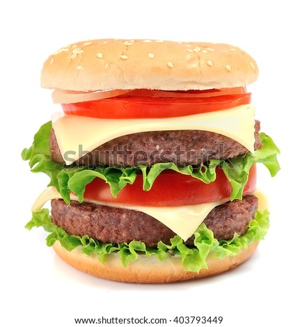 Hamburger isolated - stock photo