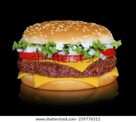 Hamburger isolated on black background - stock photo