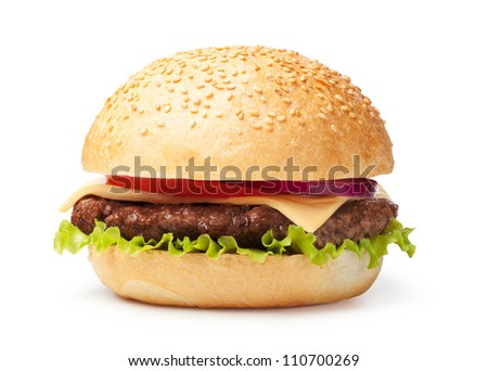 hamburger isolated on white background - stock photo