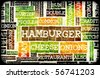 Hamburger Menu in a American Fast Food Restaurant - stock photo