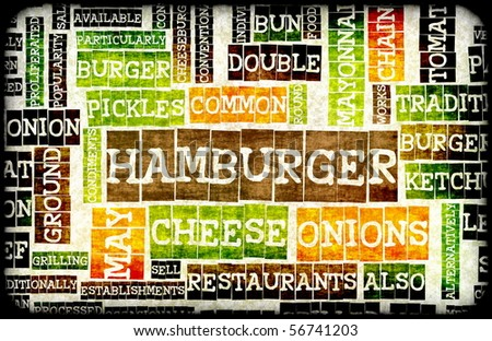 Hamburger Menu in a American Fast Food Restaurant - stock photo