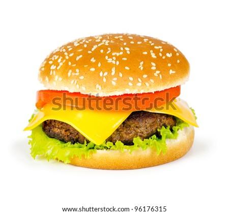 hamburger on a white background - stock photo