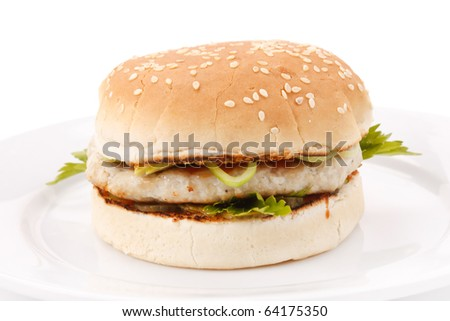 hamburger on the plate - stock photo