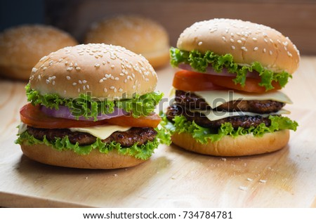 hamburger on wooden table for meal