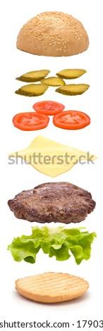 Hamburger Parts Vertical Explosion - stock photo