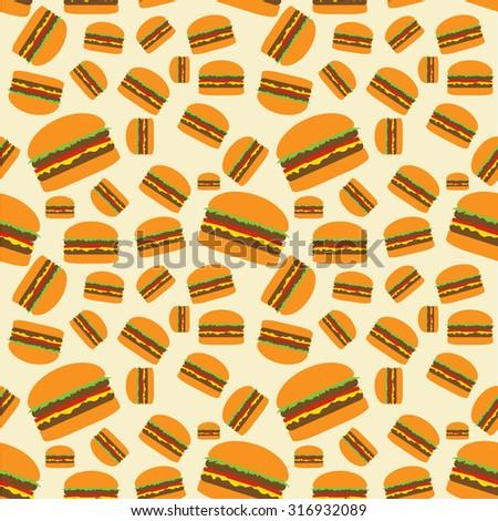 Hamburger pattern on beige background. Big medium small cheeseburgers pattern. Seamless pattern. Fast food pattern. Hamburgers pattern. Hamburgers seamless. Fast food background. Juicy hamburger. - stock photo