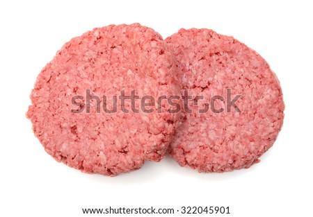 hamburger patties isolated on white background - stock photo