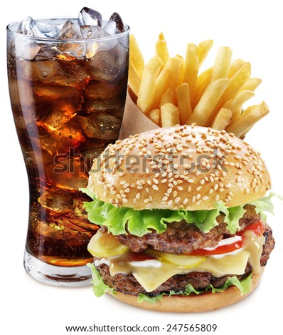 Hamburger, potato fries, cola drink. Takeaway food. File contains clipping paths. - stock photo