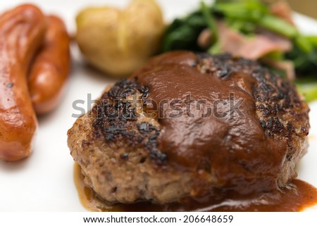 hamburger steak lunch set - stock photo