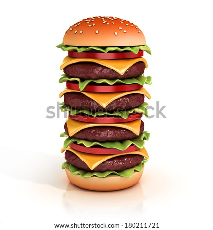 hamburger tower 3d illustration - stock photo