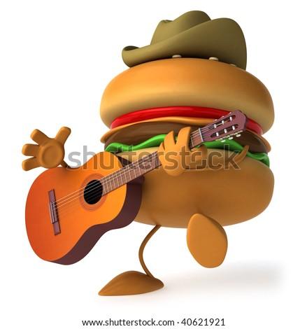 Hamburger with a guitar - stock photo