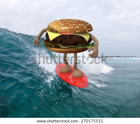 hamburger with arms and legs that surfing on the sea, 3d illustration - stock photo