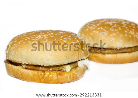 Hamburger with beef on white background.