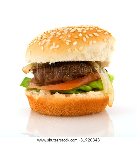 hamburger with bread isolated over white