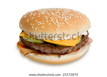 Hamburger with cheese and mayonnaise isolated on white