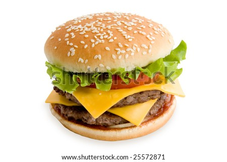 Hamburger with cheese tomatoes and lettuce isolated on white - stock photo