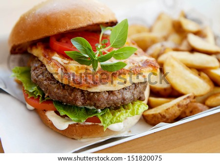 hamburger with country potatoes - stock photo