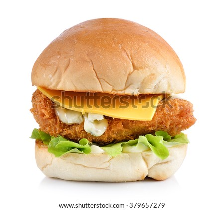 hamburger with fish and cheese on white backgroud - stock photo