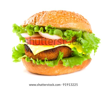 hamburger with fish cutlet and vegetables isolated on white background - stock photo