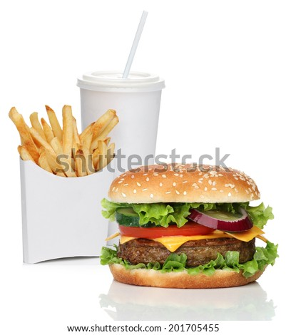 Hamburger with french fries and a cola drink, isolated on white - stock photo