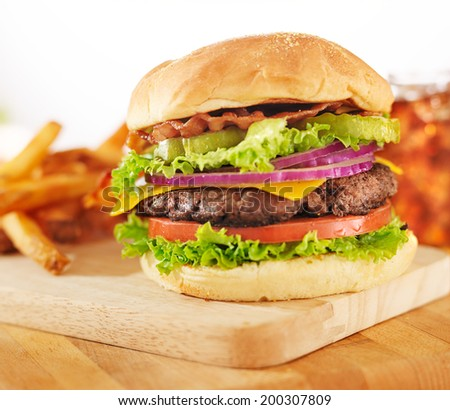 hamburger with french fries and soft drink - stock photo