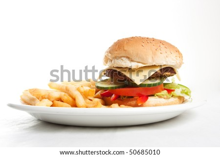 Hamburger with french fries on a dinner plate