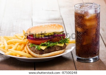 hamburger with fries and cola - stock photo