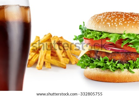 Hamburger with fries and cola isolated on white background. Close up.