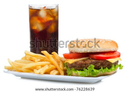hamburger with fries and cola on white background - stock photo