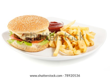 Hamburger with fries on white plate isolated on white background - stock photo
