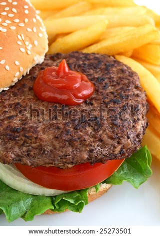 Hamburger with golden french fries - stock photo