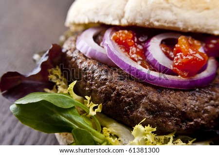 Hamburger with lettuce and red onion in a burger bun - stock photo