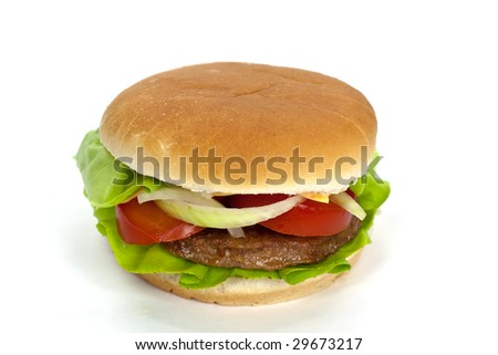 hamburger with lettuce,cheddar,tomato