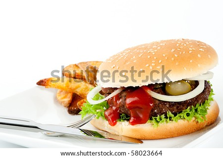 Hamburger with onions and meat