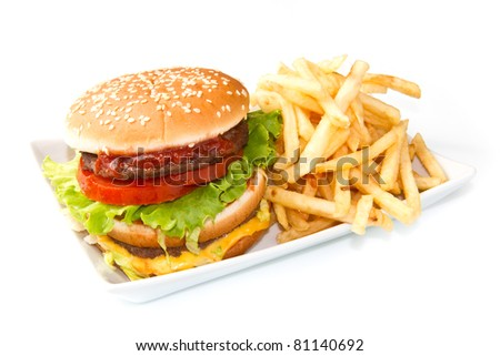 hamburger with potatoes isolated on white background