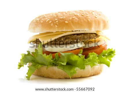 Hamburger with salad and onion isolated over white - stock photo