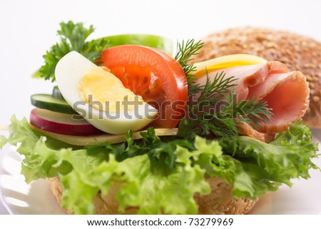 hamburger with vegetables - stock photo