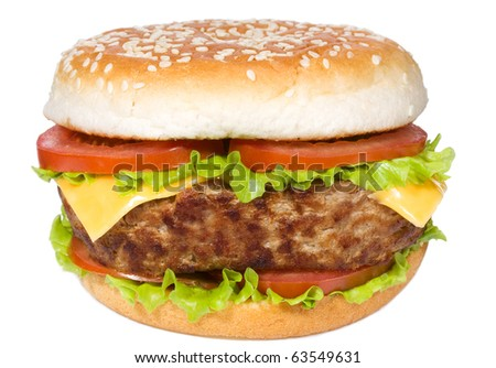 hamburger with vegetables on white background