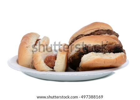 hamburgers and hot dogs on paper plate isolated white background